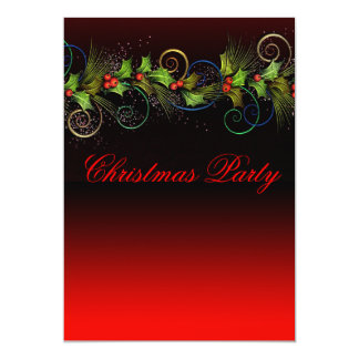 Elegant Red Holly Christmas Party Card