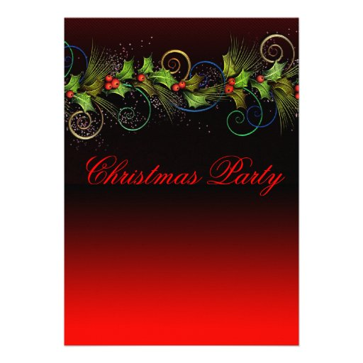 Elegant Red Holly Christmas Party Invitations