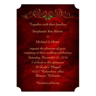 Elegant Red Holly Christmas Wedding Card