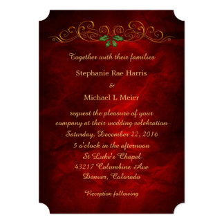 Elegant Red Holly Christmas Wedding Invitation