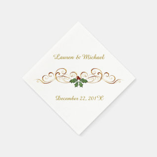 Elegant Red Holly Christmas Wedding Paper Napkin at Zazzle