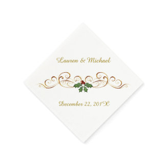 Elegant Red Holly Christmas Wedding Paper Napkin