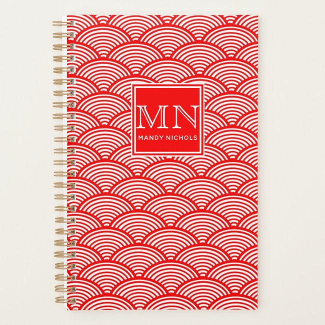 Elegant Red Japanese Wave Pattern Monogrammed