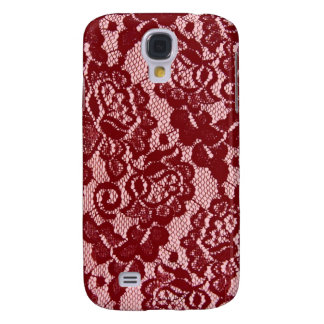 Elegant Red Lace Pattern. Samsung Galaxy S4 Covers