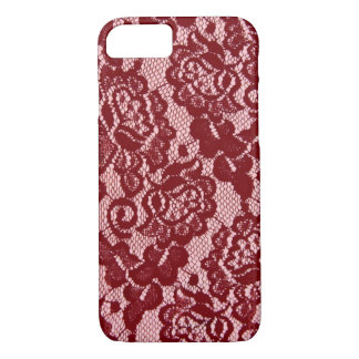 Elegant Red Lace Pattern. iPhone 7 Case