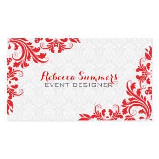 Elegant Red Lace White Damasks Double-Sided Standard Business Cards (Pack Of 100)