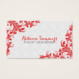 Elegant Red Lace White Damasks Business Card