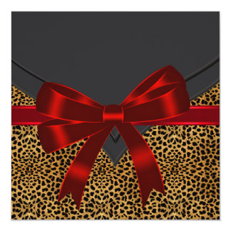 Elegant Red Leopard Party Card
