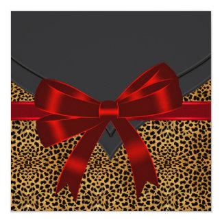 Elegant Red Leopard Party Custom Announcement