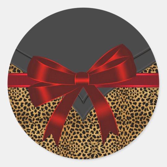 Elegant Red Leopard Stickers
