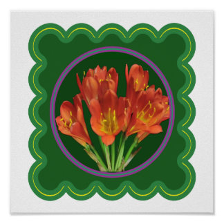 Elegant Red Lily Lilly Flowers Florals Poster