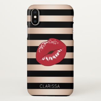 elegant red lips rose gold black stripes pattern iPhone x case