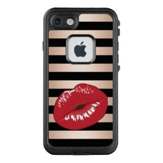 elegant red lips rose gold black stripes pattern LifeProof FRĒ iPhone 7 case