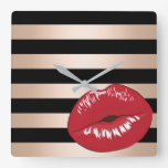 elegant red lips rose gold black stripes pattern square wall clock