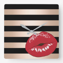 elegant red lips rose gold black stripes pattern square wall clock