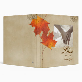 Elegant Red Maple Leaves Fall Wedding 3 Ring Binder