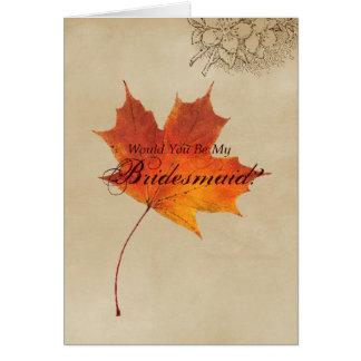 Elegant Red Maple Leaves Fall Wedding bridesmaid Cards
