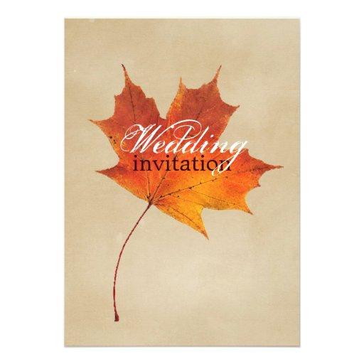 Elegant Red Maple Leaves Fall Wedding 5x7 Paper Invitation Card