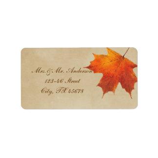 Elegant Red Maple Leaves Fall Wedding Address Label