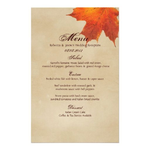 elegant red maple leaves fall wedding menu stationery zazzle