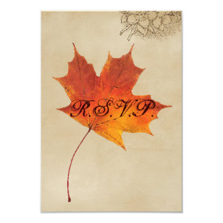 Elegant Red Maple Leaves Fall Wedding RSVP Personalized Invites