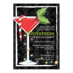 Elegant Red Martini Christmas Cocktail Party 3.5x5 Paper Invitation Card