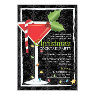 Elegant Red Martini Christmas Cocktail Party Card at Zazzle