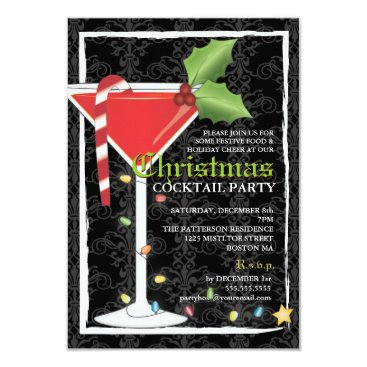 Christmas Themed Elegant Red Martini Christmas Cocktail Party Card