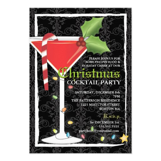 Elegant Red Martini Christmas Cocktail Party Personalized Announcement