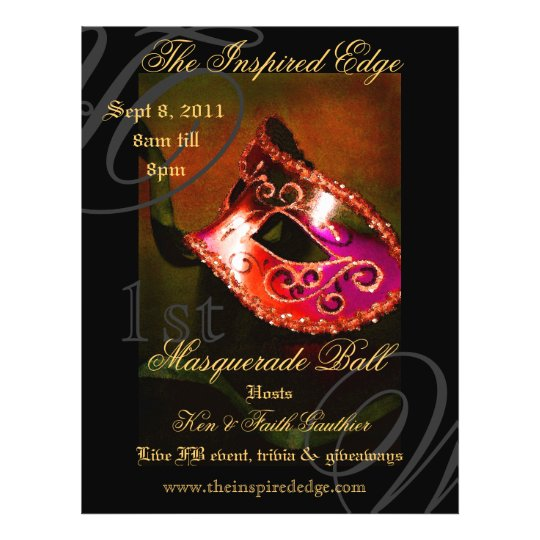 Elegant Red Masquerade Ball Party Event Flyer