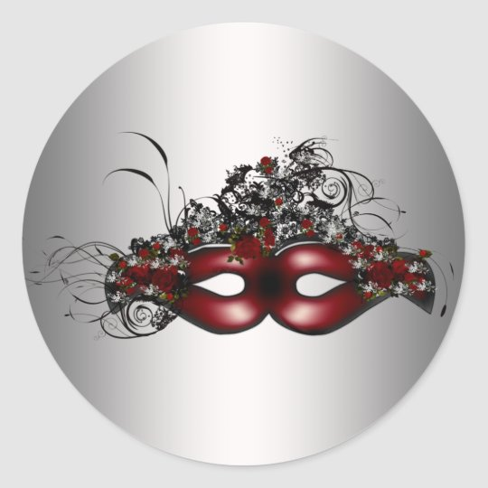 Elegant Red Masquerade Mask Silver Envelope Seal