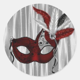 Elegant Red Masquerade Party Stickers