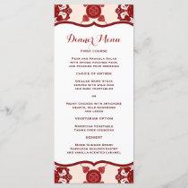 Elegant Red Medallion Pattern Slim Dinner Menu
