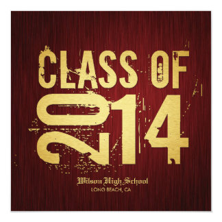 Elegant Red & Metallic Gold Class of 2014 Card