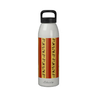 Elegant Red, Orange and Yellow Flowery Stripes Water Bottle