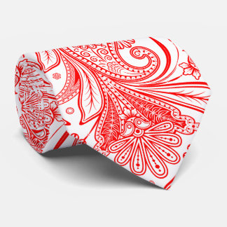Elegant Red Paisley On White Changeable Background Tie