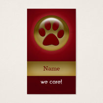 elegant red paw print pet care Business Cards
