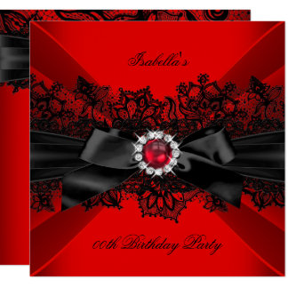 Elegant Red Pearl Black Lace Bow Birthday Party Card