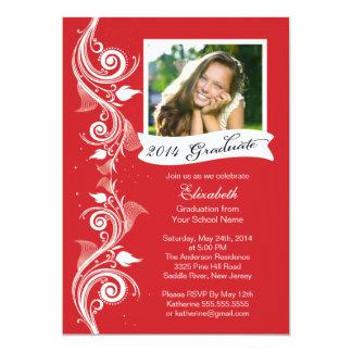 Elegant Red Photo Graduation Party Invitation