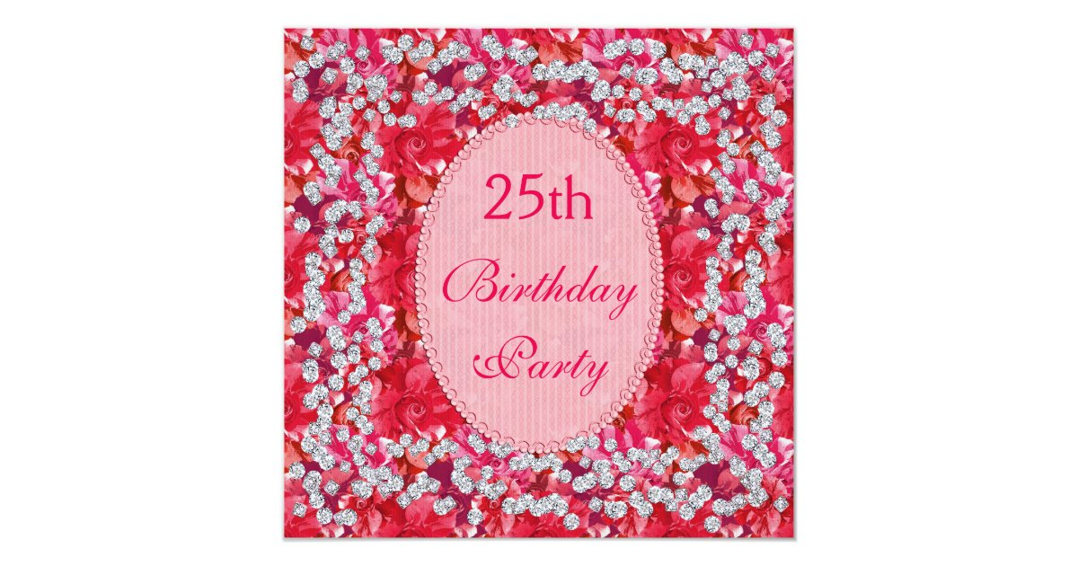 Elegant Red Pink Floral Diamonds 25th Birthday Invitation