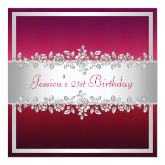 Elegant Red Pink Silver Roses Birthday Party Card