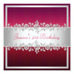 Elegant Red Pink Silver Roses Birthday Party 5.25x5.25 Square Paper Invitation Card