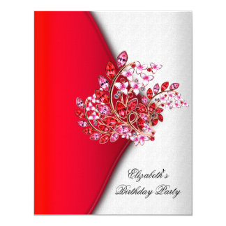 Elegant Red Pink White Jewel Birthday Party 4.25x5.5 Paper Invitation Card