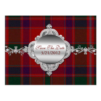 Elegant Red Plaid Save The Date Postcard