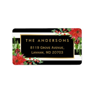 Elegant Red Poinsettia Floral Gold Frame Holiday Label