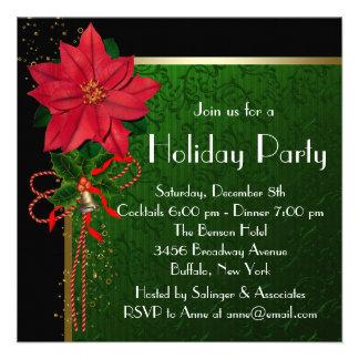 Elegant Red Poinsettia Green Christmas Party Invitation