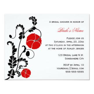 Elegant Red Poppy Bridal Shower Invitation
