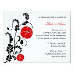 """Elegant Red Poppy Bridal Shower Invitation 4.25"""" X 5.5"""" Invitation Card"""