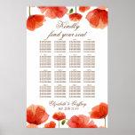 Elegant Red Poppy Floral Wedding Seating Chart