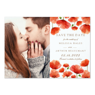 Elegant Red Poppy Flowers Photo Save the Date Card
